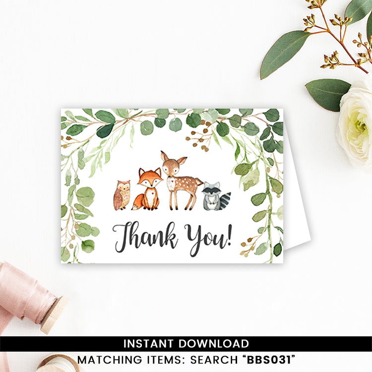 Green Foliage Woodland Thank you Card