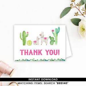 Llama Thank you Card