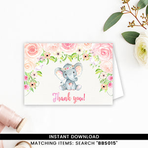 White Floral Gender Neutral Elephant Thank You Card
