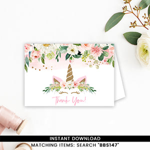 Blush Pink Floral Unicorn Thank you Card