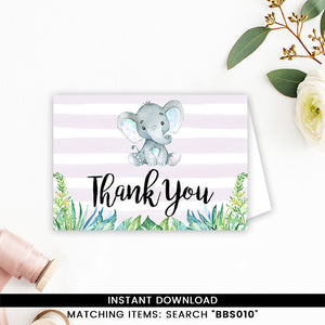 Blue Elephant Safari Thank You Card