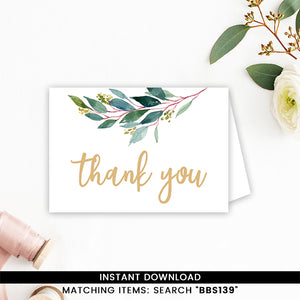 Greenery Geometric Thank you Card