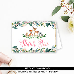 Blush Pink and Gold Floral Woodland Animals Thank you Card