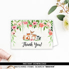 Pink Floral Woodland Thank you Card