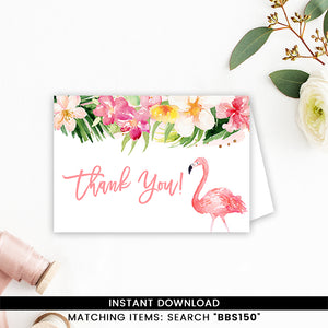 Pink Tropical Flamingo Thank you Card