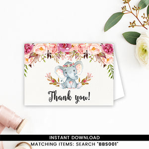 Elephant Thank you Card Floral Boho