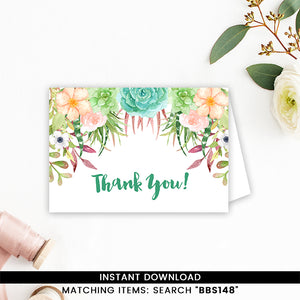 Succulent Thank you Card