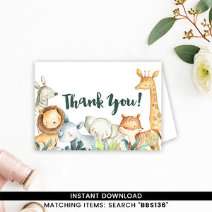 Safari Animals Thank you Card