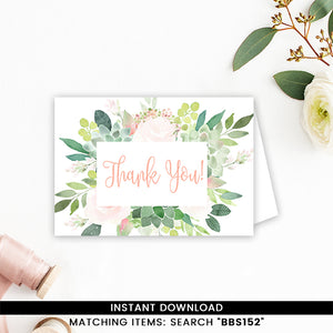 Floral Succulent Thank you Card