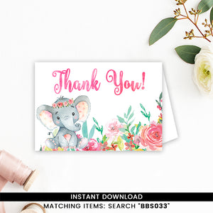 Colorful Floral Elephant Thank You Card