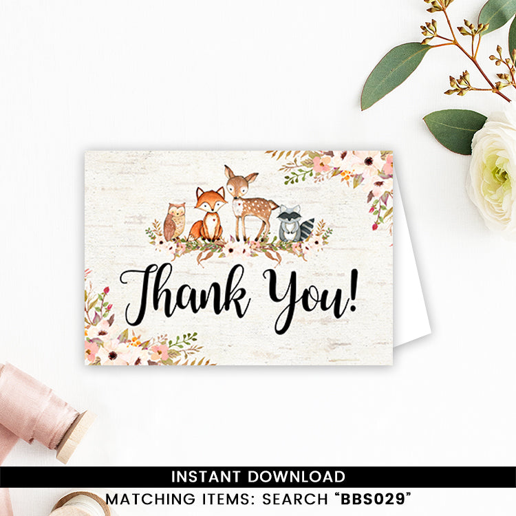 Floral Woodland Thank you Card