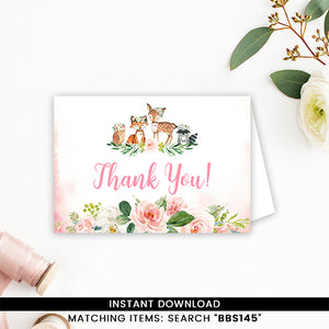 Blush Pink Floral Woodland Thank you Card