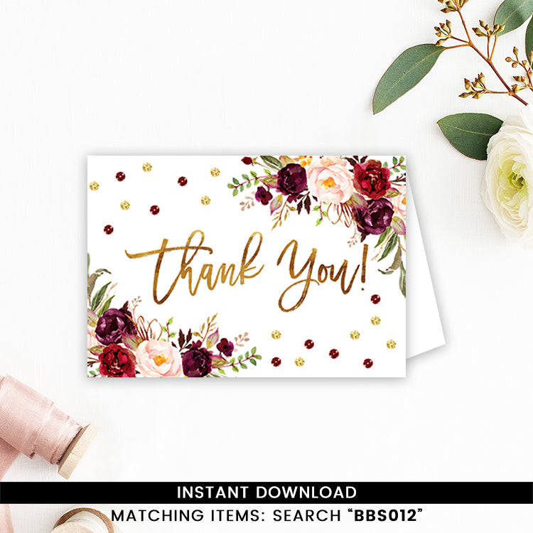 Marsala And Gold Floral Thank You Card