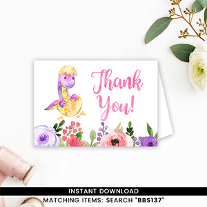 Purple and Pink Dinosaur Thank you Card