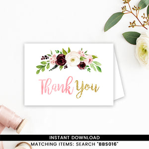 Marsala And Blush Pink Floral Thank You Card