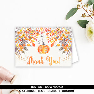 Fall Autumn Orange Pumpkin Thank You Card