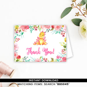 Pink Floral Dinosaur Thank You Card