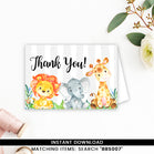 Safari Jungle Elephant, Lion Giraffe Thank you Card