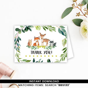 Greenery Woodland Forest Thank you Card