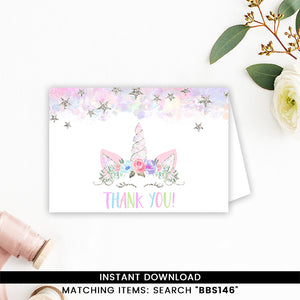 Silver Floral Unicorn Thank you Card