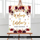 Marsala and Gold Floral Welcome Sign