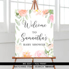 Peach and Pink Floral Welcome Sign