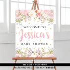 Blush Pink Floral Welcome Sign