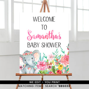 Colorful Floral Elephant Welcome Sign