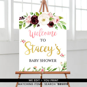 Marsala and Blush Pink Floral Welcome Sign