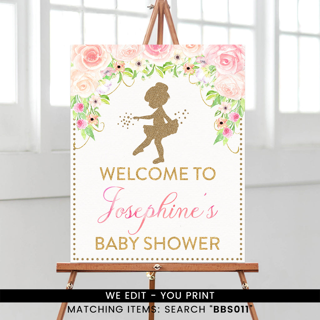 Pink and Gold Floral Tutu Ballerina Welcome Sign