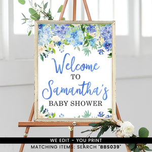 Blue Floral Welcome Sign