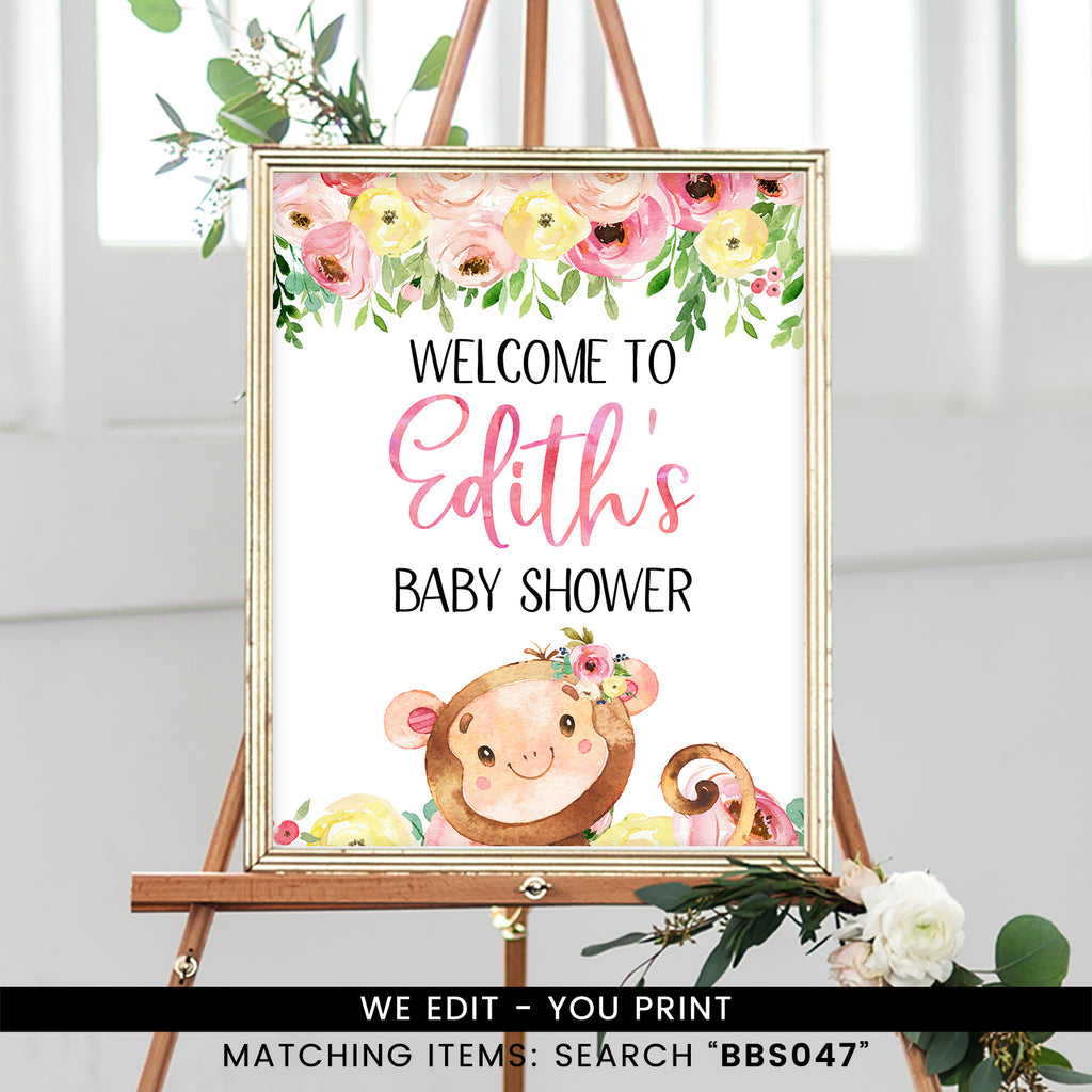 Pink and Yellow Floral Monkey Welcome Sign