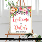 Dainty Pink Floral Welcome Sign