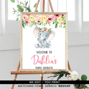 Pink and Yellow Floral Elephant Welcome Sign
