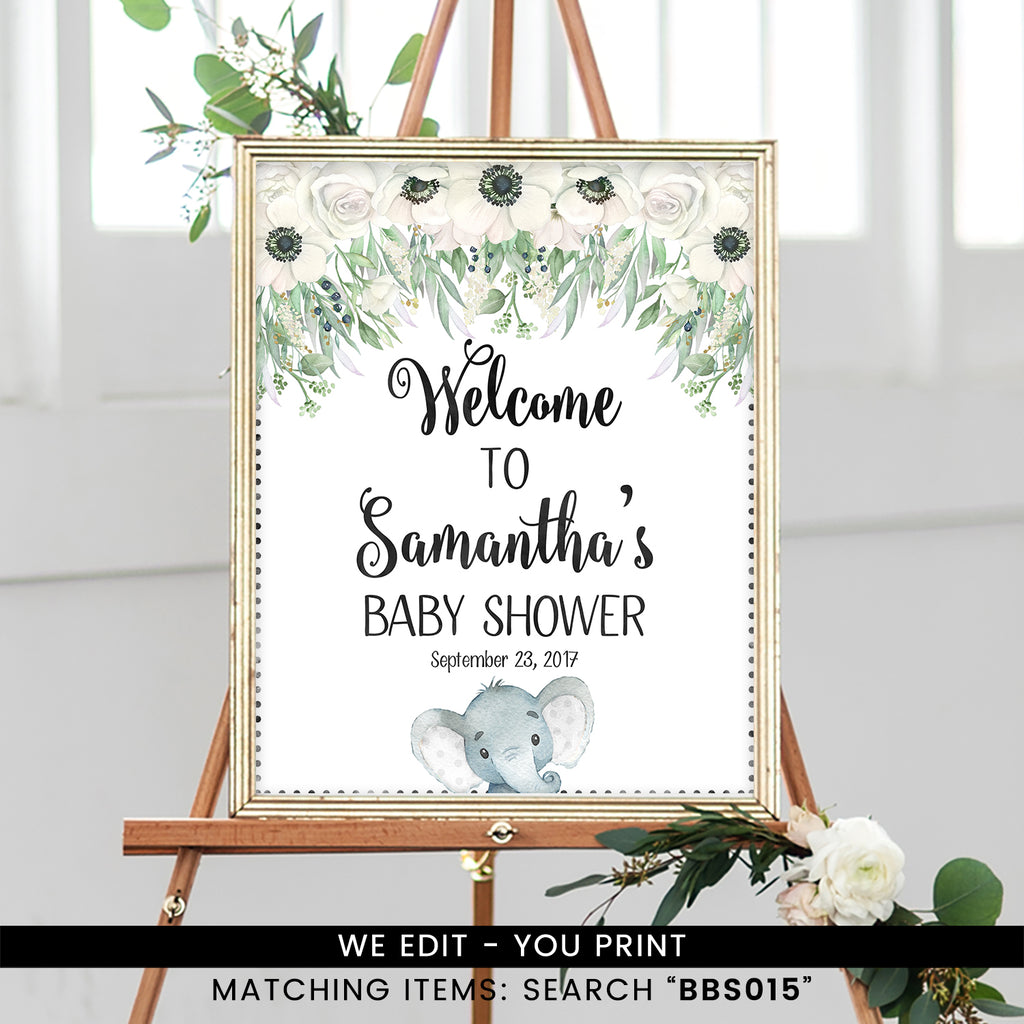 White Floral Gender Neutral Elephant Welcome Sign