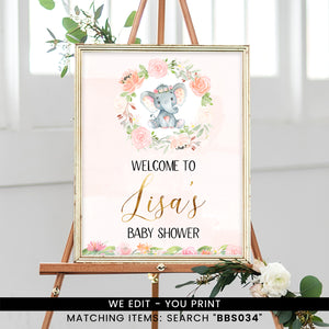 Pink Ink Floral Elephant Welcome Sign
