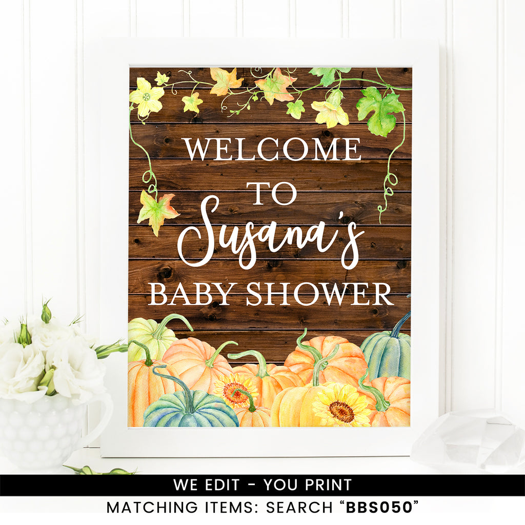 Rustic Pumpkin Fall Welcome Sign