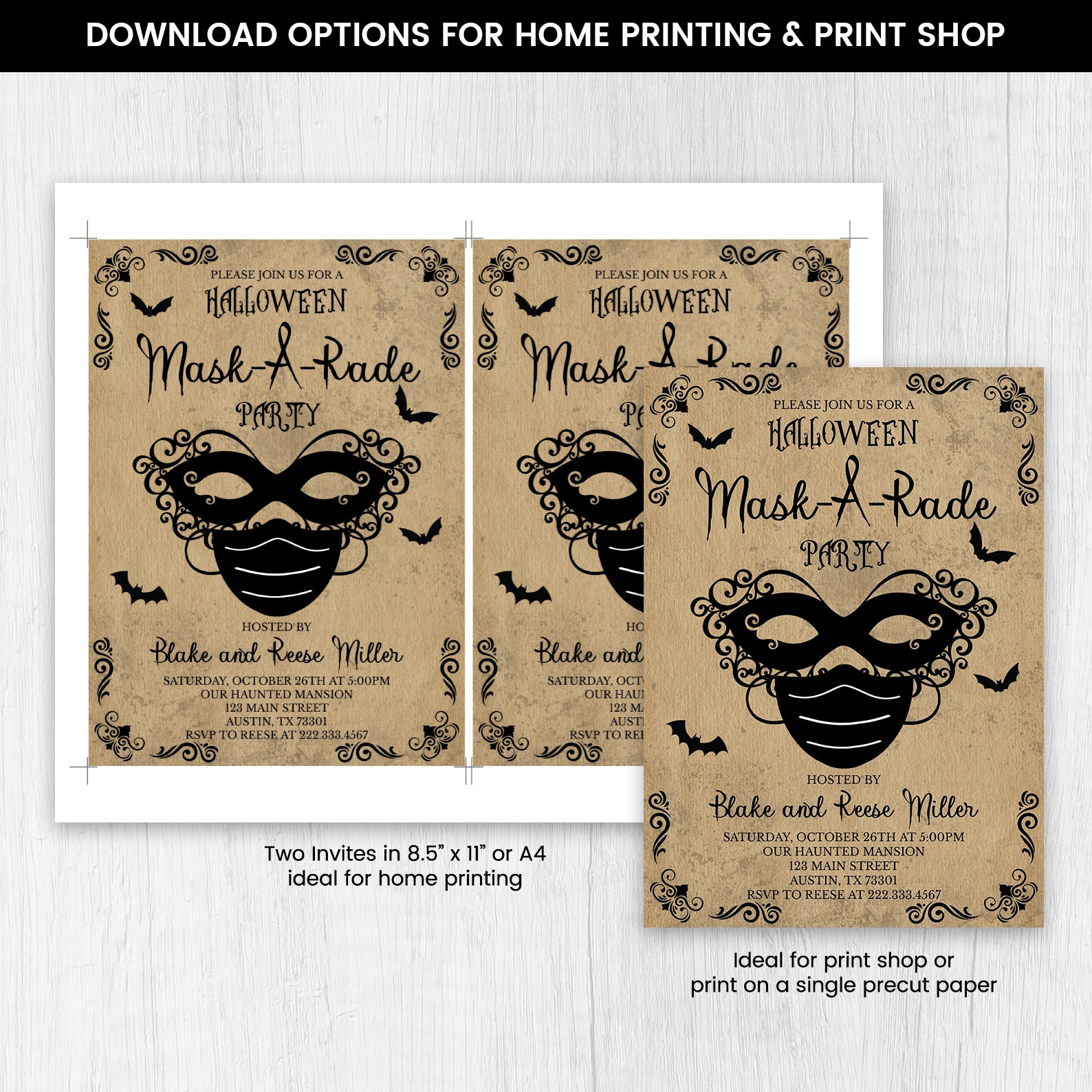 Editable Halloween Masquerade Party, Halloween Mask-a-rade Party, Medical Mask Invitation, Halloween Mask Invitation, Spooky Invite