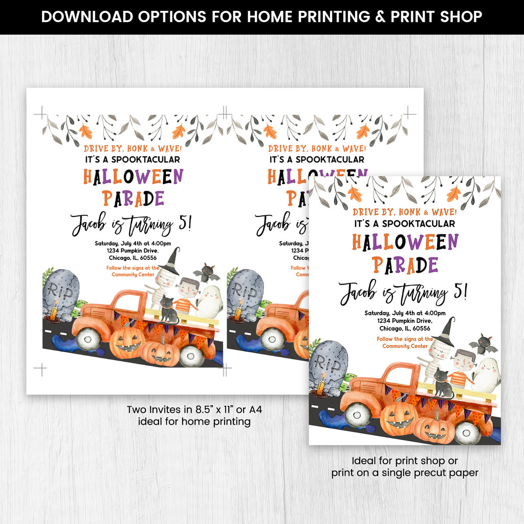 Editable Halloween Birthday Parade Invitation, Halloween Drive by Invite, Halloween Invitation, Spooky Halloween Invitation, Spooky Invite