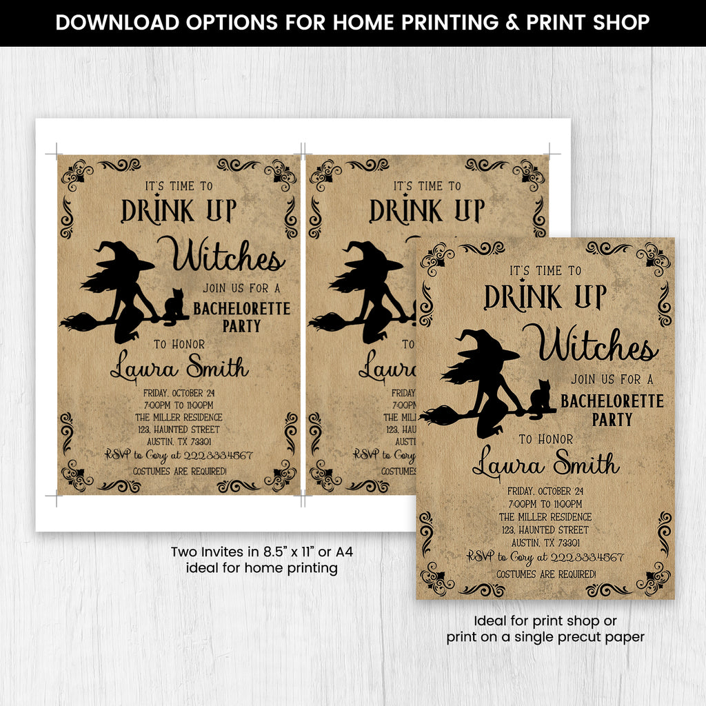 Editable Drink Up Witches Invitation, Halloween Bachelorette Party Invite, Halloween Witches Invitation, Halloween Spooky Bridal Shower