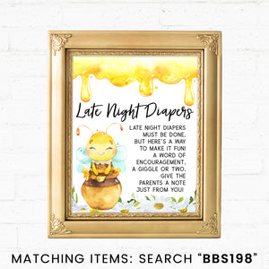 Bee Late Night Diapers Printable Sign