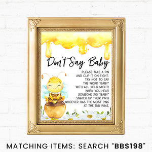 Bee Don't Say Baby Pin Printable Sign