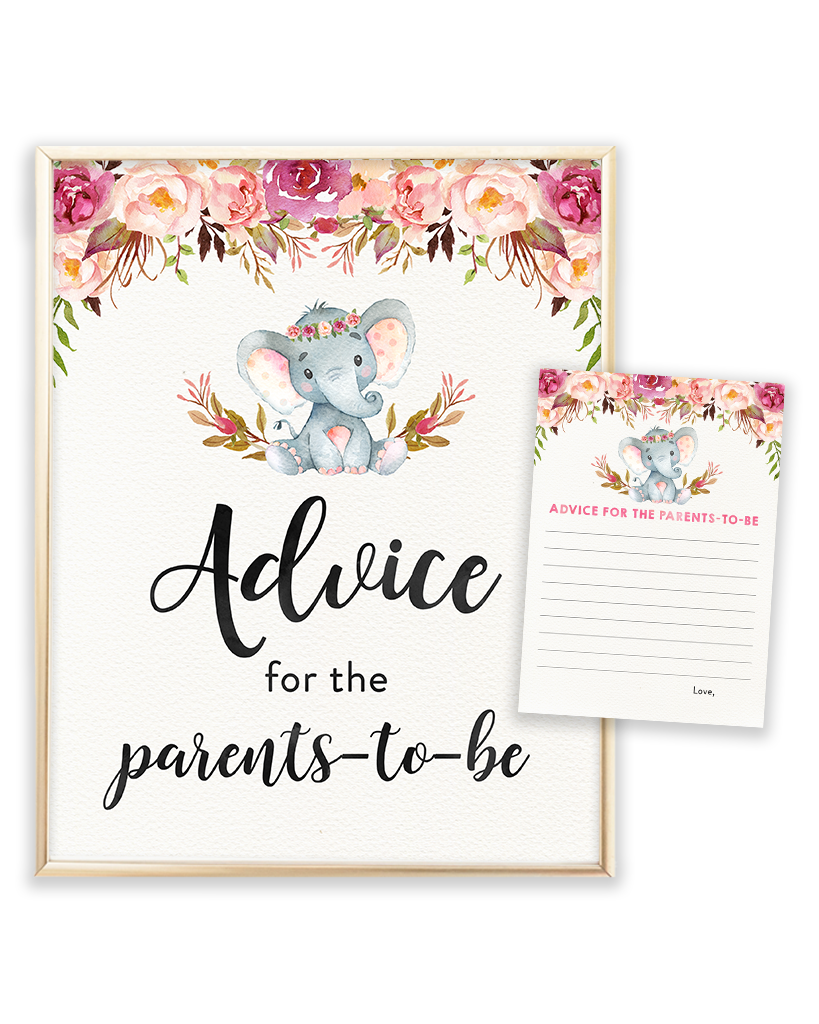 Elephant Baby Shower Printable Advice for the Parents-to-be