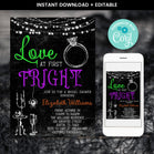 Editable Halloween Love at First Fright Invitation, Halloween Bridal Shower Invitation, Halloween Bachelorette Party, Couple Shower Invite