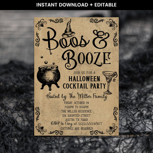 Editable Halloween Boos and Booze Invitation, Halloween Cocktail Party Invite, Halloween Invitation, Spooky Invitation, Halloween Witch