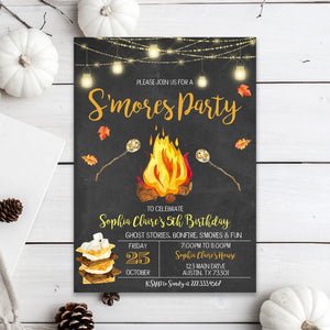 Editable S'mores Party Birthday Invitation, S'mores Kids Invitation, Fall Harvest Bonfire Invite, Fall Bonfire Invite, Autumn Thanksgiving