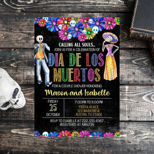 Editable Halloween Dia De Los Muertos Couple Shower Invitation, Day of the Death Bridal Shower, Calling all Souls Invite, Halloween Invite
