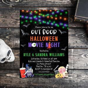 Editable Halloween Movie Night Invitation, Outdoor Halloween Movie Night, Halloween Invitation, Halloween Birthday Invitation