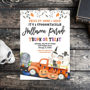 Editable Halloween Parade Invitation, Halloween Drive by Invite, Halloween Invitation, Trunk or Treat Halloween Invitation, Spooky Invite