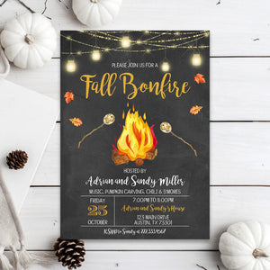 Editable Fall Backyard Bonfire Invitation, Fall Harvest Bonfire Invite, Fall Bonfire Invite, Autumn Thanksgiving Invitation